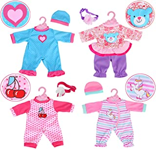 4-Sets Doll Clothes Include Rompers Headband for 10