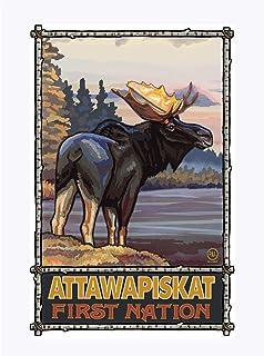 Attawapiskat Ontario Canada First Nation Moose Giclee Art Print Poster from Original Travel Artwork by Artist Paul A. Lanq...