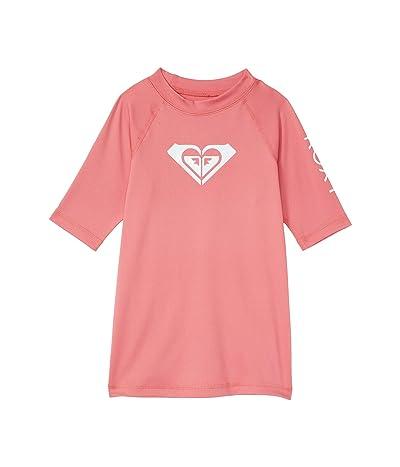 Roxy Kids Whole Hearted Short Sleeve Rashguard (Toddler/Little Kids/Big Kids) (Desert Rose) Girl