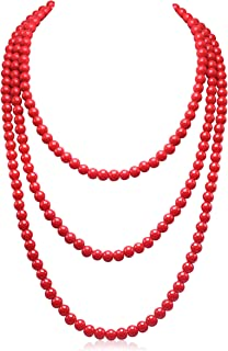 Best long red bead necklace Reviews
