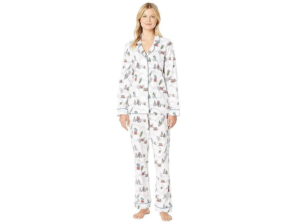 BedHead Pajamas Long Sleeve Classic Notch Collar Pajama Set (Peanuts Winter Holiday) Women