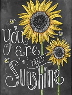 Leyzan 5D Sunflower Diamond Painting Letter Full Drill You are My Smile for Kids Adults by Number Kits, Paint with Diamonds Embroidery Set DIY Craft Arts Home Decorations 30x40cm (12