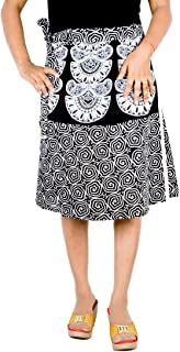Women's Cotton Printed Knee Length Regular Wrap Around Skirt (B-WW24_0006; White; Free Size)