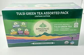 Organic India Tulsi Green Tea Assorted Pack - Vegetarian - India - 25 Tea Bags - Assorted pack - Classic, Lemon Ginger, Jasmine, Pomegranate, Earl Grey
