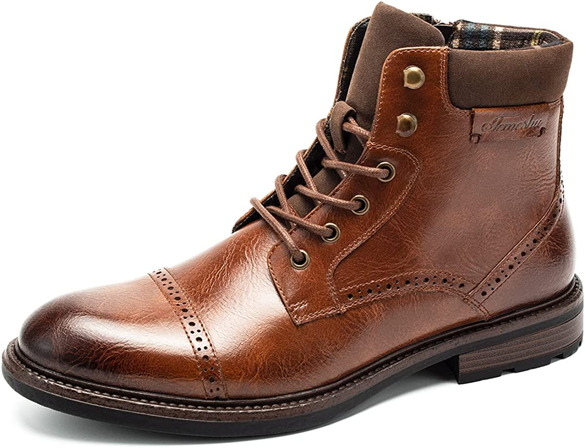 Men's Oxford Ankle Boots Lace-Up Side Zip Fashion Casual Dress Boot Cap Toe Motorcycle Boots