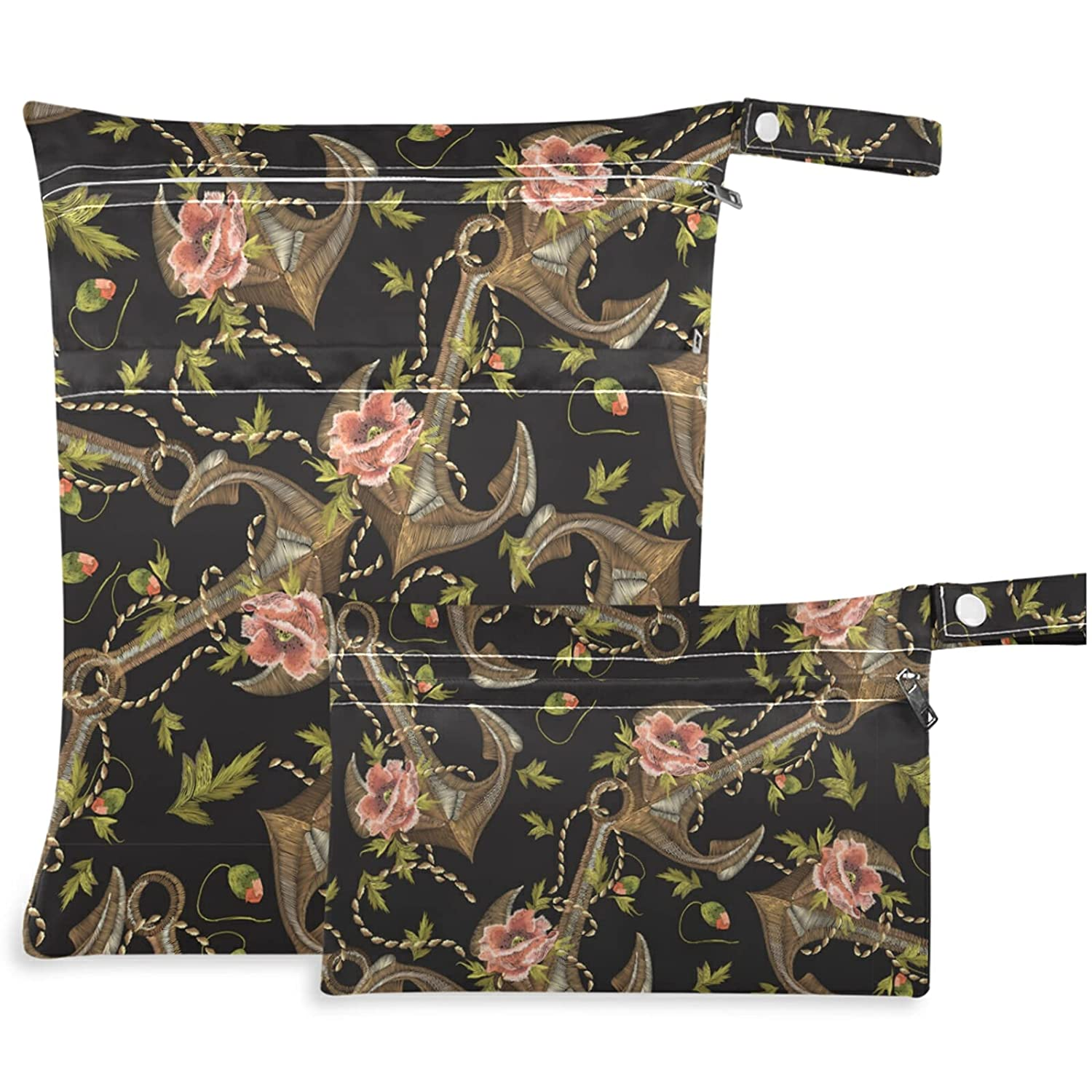 visesunny Vintage Anchor Flower 2Pcs Pocke Wet with Cheap mail Free shipping / New order specialty store Zippered Bag