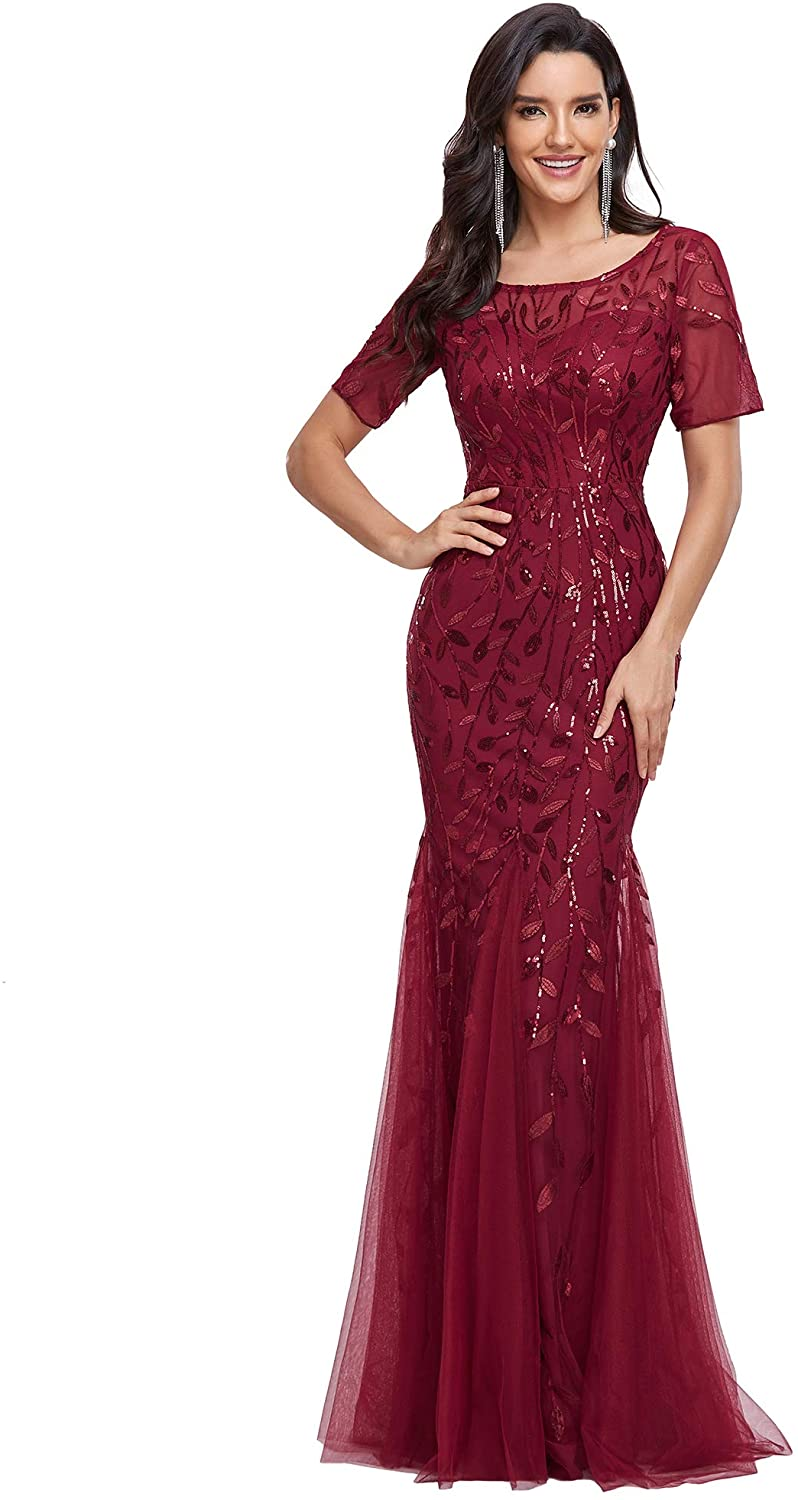 Ever-Pretty Women's Over item handling Illusion Embroidery Evening Elegant Mermaid Max 83% OFF