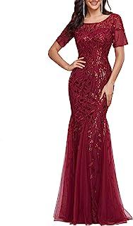 Ever-Pretty Damen Abendkleid Meerjungfrau Pailletten Tüll Partykleid Kurze Ärmel lang EZ07707