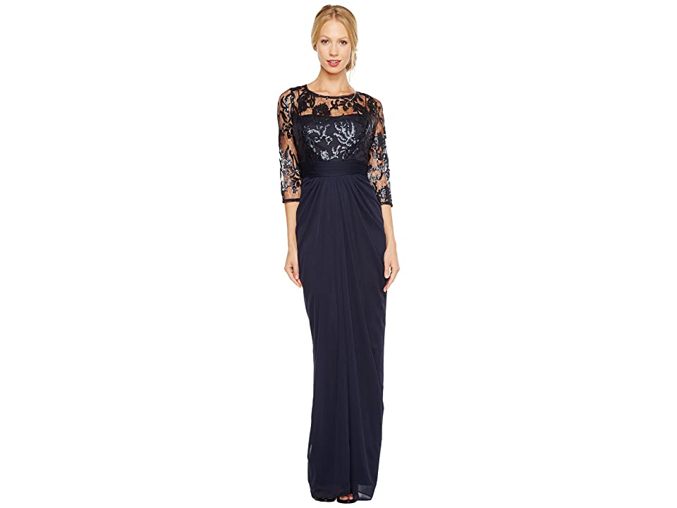 Adrianna Papell Embroidered Sequin Bodice Drape Gown (Ink) Women