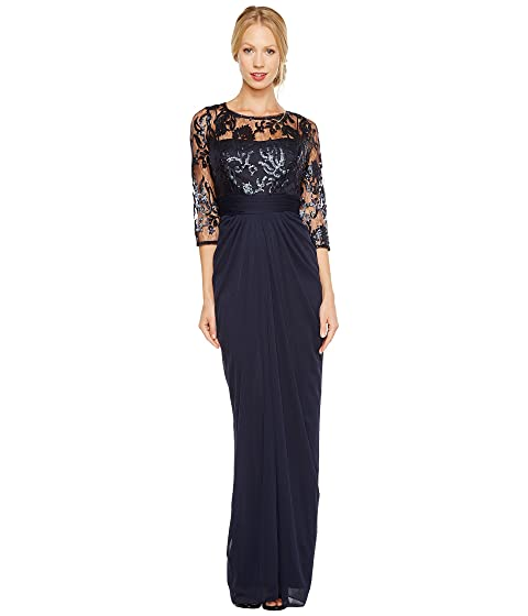 Adrianna Papell Embroidered Sequin Bodice Drape Gown at Zappos.com