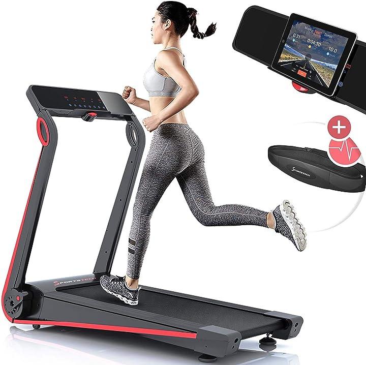 Tapis roulant con consolle futuristica, 2,5 ps, 12 km/h, sistema di lubrificazione, cintura cardio inclusa sp_f17