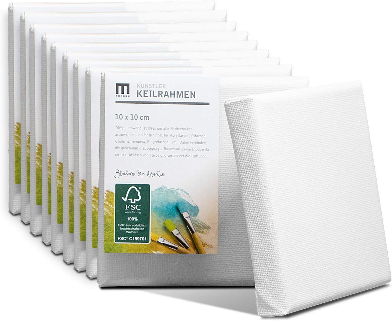 Set di 10 tele da pittura 10 x 10 cm 280 g//m/² La tela bianca in 100/% cotone /è tesa su telaio a cunei in legno FSC/® con spessore di 17 mm 2 strati di fondo bianco.