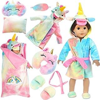 XFEYUE 18 inch Doll Clothes and Doll Sleeping Bag Set - Rainbow Unicorn Doll Costume with Unicorn Style Sleeping Bag, Pill...