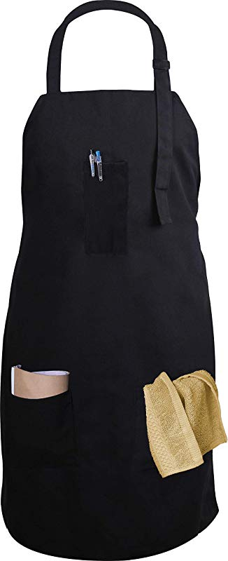 Utopia Kitchen Adjustable Bib Apron With 3 Pockets Commercial Restaurant And Home Kitchen Apron Adjustable Neck Strap Extra Long Ties Black