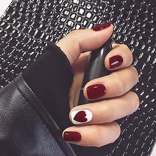 Handcess Square Unghie finte Corto Rosso lucido Stampa sulle unghie Cuore Arte acrilica Copertura completa Unghie finte pe...