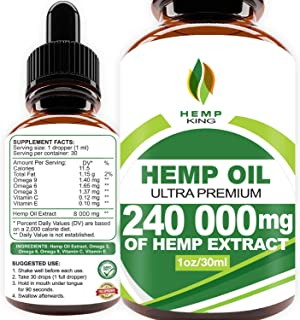 Hemp Oil Drops 240 000 mg, 100% Natural Extract, Anti-Anxiety and Anti-Stress, Natural..