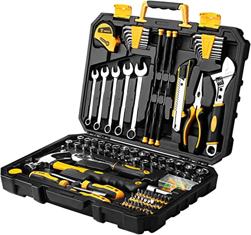 popular DEKOPRO 2021 158 Piece Tool Set-General popular Household Hand Tool Kit,Auto Repair Tool Set, with Plastic Toolbox Storage Case outlet sale
