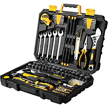 DEKOPRO 158 Piece Tool Set-General Household Hand Tool Kit,Auto Repair Tool Set, with Plastic Toolbox Storage Case