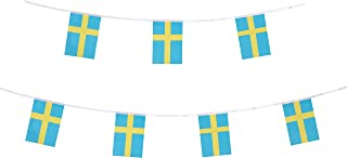 TSMD Sweden Flag, 100 Feet Swedish Flag National Country World Pennant Flags Banner String,Party Decorations for Grand Opening,Olympics,Bar,School Sports Events,International Festival Celebration