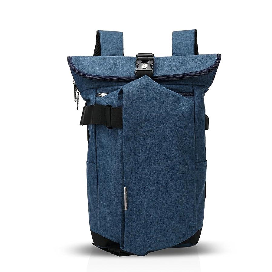 に沿って報告書器官FANDAREファッション旅行リュックサックカジュアルハイキングバックパックUSBポート搭載耐衝撃通学多機能軽量メンズ防水ポリエステル