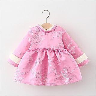 Winter Girls Princess Dress Children Kids Baby Infant Velvet Long Sleeve Chinese Tang Style Dresses New Year Wear (Color :...