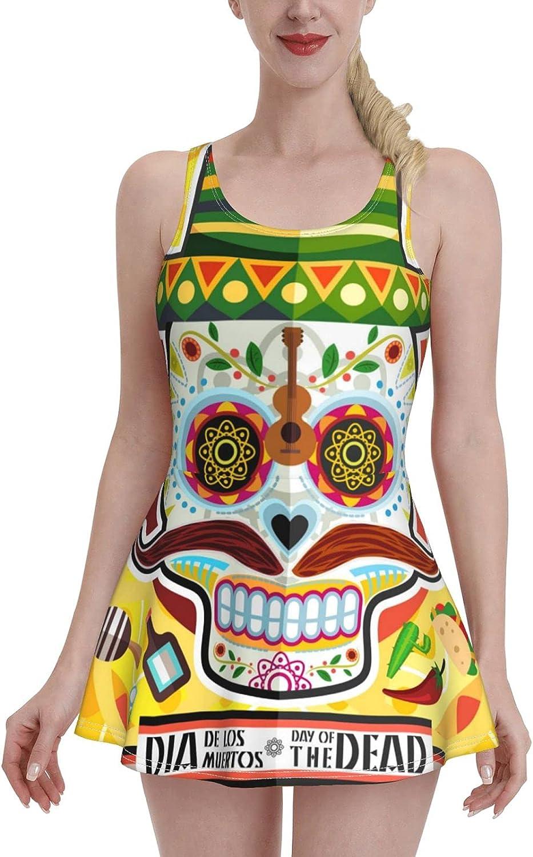 Skull of The Dead On Dia De Los Murtos Day Yellow Swimdress Swimsuits for Women Tum