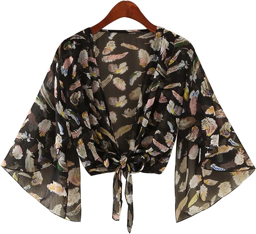 Trendy XU Women Feather Pattern Three Quarter Sleeve Chiffon Shawl V-Neck Tied Crop Cardigan Bolero Shrug