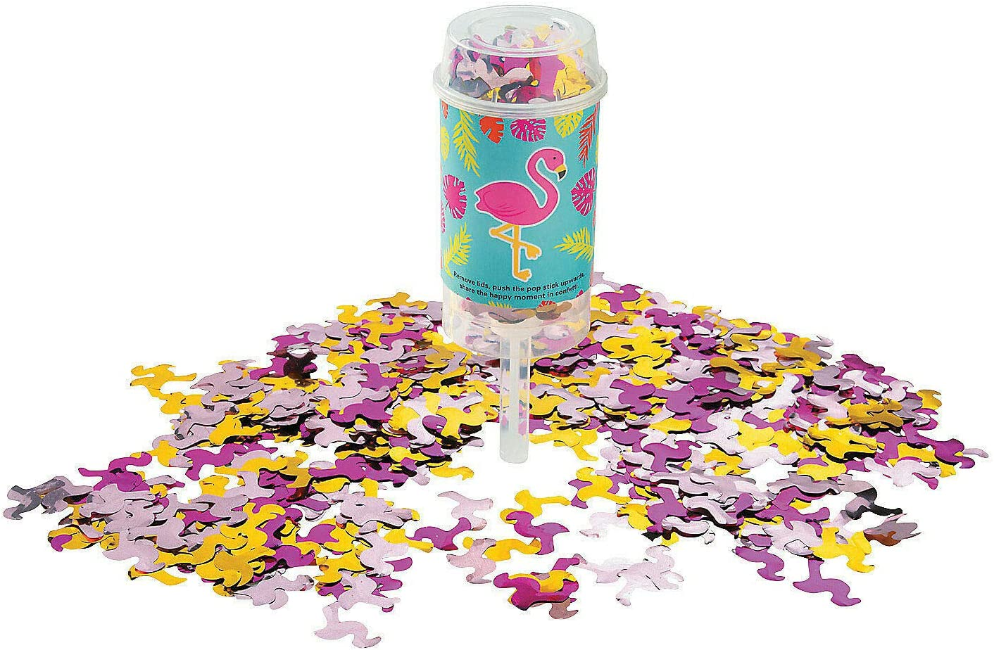 Flamingo Push-Up sold Ultra-Cheap Deals out Confetti Poppers - Party Decor 6 Pieces Ama