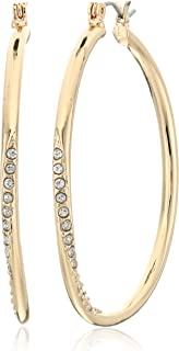 "GUESS ""Basic"" Gold Stone Front Hoop Earrings"