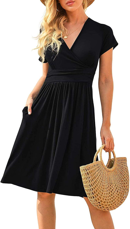 Auriviz Womens Short Sleeve Casual Loose V Neck Boho Summer Short Party Dress with Pockets