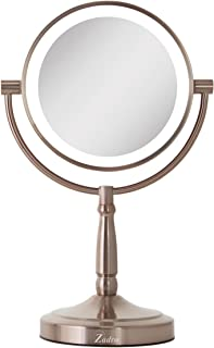 Zadro LED Lighted Dual-Sided 10X/1X Magnification Cordless Vanity Beauty Makeup Mirror, Rose Gold
