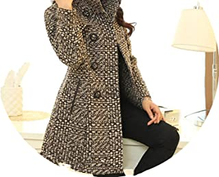 Women's Coat Winter Elegant Mother Plaid Slim Long Tweed Woolen Outerwear