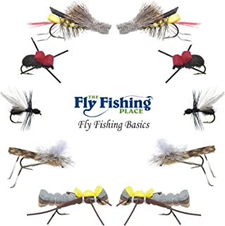 The Fly Fishing Place Basics Collection - Terrestrials Dry Fly Assortment - 10 Dry Fishing Flies - Hopper, Ant and Beetle Fishing Fly Patterns - Hook Sizes 10, 12 and 14