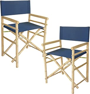 Zew Bamboo Indoor Outdoor Director Navy Blue Canvas-Set Of 2 Chairs, 35