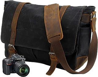 Neuleben Vintage Wasserdicht Kameratasche Aktentasche herausnehmbar Kamerafach Canvas Leder Umhängetasche Fototasche für DSLR Objektiv Laptopfach Update Schwarz