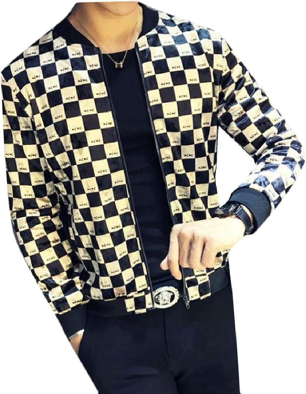80a555f750e7 ZXFHZS-CA Mens Luxury Plaid Long Sleeve Loose Loose Loose Fit Baseball  Bomber Jacket Coat 2bcec5