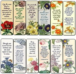 Religious Bookmarks for Women Flower KJV Scriptures Series 2 (30 Pack) - Church Supplies for Ministry Bulletin Cell Group Baptism Evangelism Christmas
