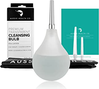 Clear Non-Toxic Enema Bulb - 7oz Anal Douche Kit (BPA & Phthalates Free) for Home Water + Coffee Colon Cleansing, Detox & Constipation. Stainless Steel Tip & Storage Bag