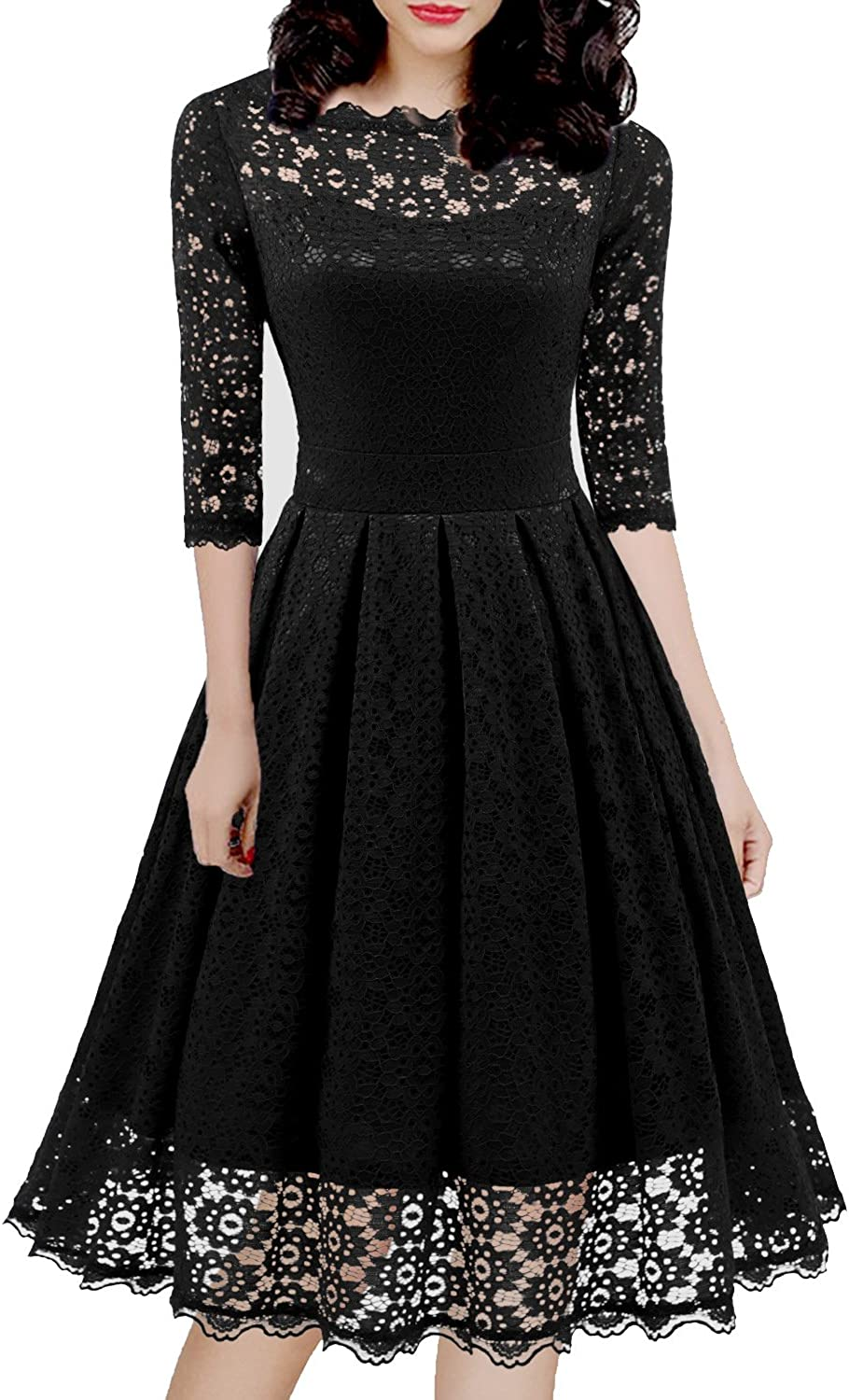 Women's 1950s Vintage Floral Lace Half Sleeve Formal Cocktail Party Casual Swing Dress 595