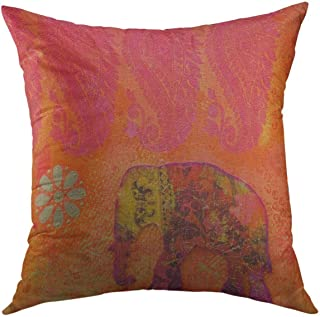 Mugod Decorative Throw Pillow Cover for Couch Sofa,Orange India Collage Painting with Indian Elephant Artwork Is Created By Myself Red Acrylic Gold Home Decor Pillow Case 18x18 Inch