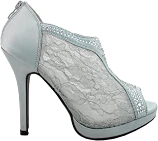 SNJ Women's Lace High Heel Platform Peep Toe Shootie