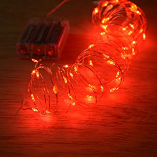 Homeleo 4 Pack 5M/16.5ft 50 LEDs Red Mini Fairy String Lights,Battery Operated Led Starry Lights for Christmas Valentine's Day Party Bedroom Indoor Halloween Decorations
