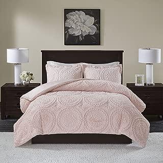 Madison Park Arya Medallion Pattern Ultra Soft Luxury Premium Plush Comforter Mini Set, Full/Queen, Blush