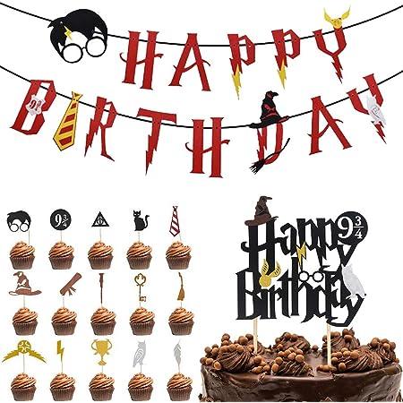 Harry Potter inspiriert Cupcake Toppers BETOY Satz von 17 Zauberer Geburtstag Geburtstag Partydekorationen Geburtstag Banner Wizard Birthday Party Supplies Kuchendeckel