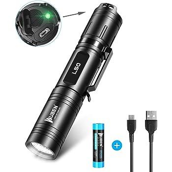 1200 Lumen LED Taschenlampe Taktische Taschenlampe USB Wiederaufladbar Handlampe Outdoor Wasserfest IPX8,WUBEN Extrem Super hell usb Aufladbar Taschenlampen,Memory Funktion, Wandern,Mit Batterie