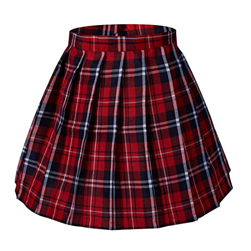 128b48e2b Tremour Women's Japan High Waisted Pleated Cosplay Costumes Skirts Solid Mini  Skirt