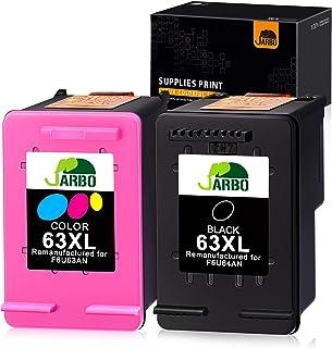 JARBO Remanufactured Ink Cartridge Replacement for HP 63 63XL Ink Cartridges Combo Pack, 1 Black+1 Tri-Color, for HP Envy 4520 4516 Officejet 4650 3830 3831 4655 Deskjet 2130 2132 1112 3630 3633 3634