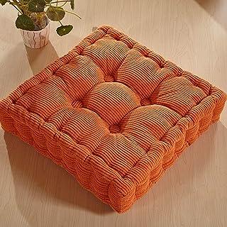 Yiwa Cojín de suelo grueso elástico color sólido cojín de asiento cuadrado cojín de piso para silla de oficina en casa, Naranja, 40 x 40 cm