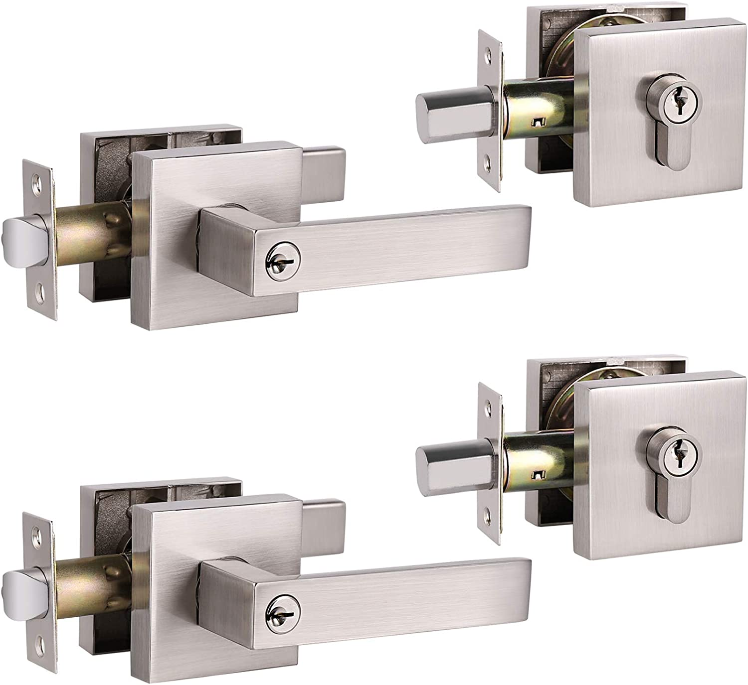 Attention brand Set of 2 GOBEKOR Square Keyed-Alike Entry Locks Door Challenge the lowest price Front Lever