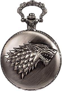 SIBOSUN ساعت جیبی Steampunk Wolf Wolves Pattern Men Men Chainz Direwolf House Stark Game of Thrones